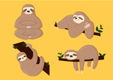 Sloth Poses Cartoon Vector Illustration