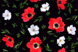 Seamless floral pattern with red anemones