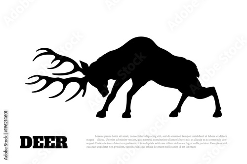 Black silhouette of fighting deer. Forest animal. Isolated drawing. Vector illustration