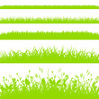 Green grass borders set isolated on white background vector