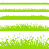 Green grass borders set isolated on white background vector - 196216098