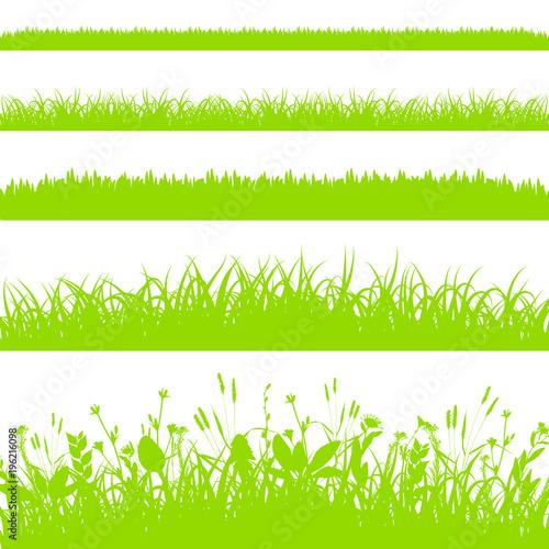 Fototapeta Green grass borders set isolated on white background vector