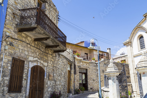 Deurstickers Cyprus Mountain village of Pano Lefkara. Cyprus. Winding street with ancient stone houses