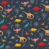 Fototapeta Dinusie - Seamless pattern with dinosaur silhouettes. © nataliasheinkin