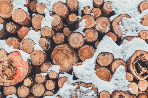 Foto op Canvas Brandhout textuur Holz Stapel im Winter