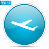 Deparures blue round glossy web vector icon in eps 10