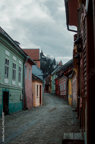 Aluminium Smalle straatjes Colorful Medieval Street