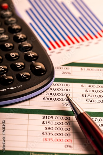 Pen and Calculator on Business Graphs and Charts - 196232452