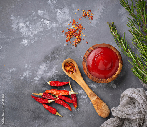 Deurstickers Hot chili peppers Chili sauce with dried peppers