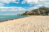 View of Mondello beach, is a small seaside resort near center of city Palermo, Sicily, Italy