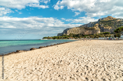 Tuinposter Beige View of Mondello beach, is a small seaside resort near center of city Palermo, Sicily, Italy
