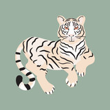 Tiger lying on the ground isolated vector.