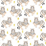 Seamless pattern with tiger on green background.