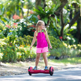 Child on hover board. Kids ride scooter. - 196237864