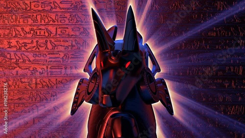Anubis Head VJ Loop - is a stunning ancient motion graphic animation featuring a close-up view of Egypt God face with bright red eyes. Perfect to use in ancient videos, Egypt graphics, thematic VJ set
