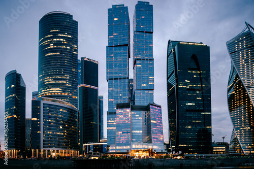 Deurstickers Moskou Moscow city towers in the night time. Business buildings.Beautiful futuristic city view. Famous touristic place in Russia. Archirecture skycrappers. Urban modern houses. International business center.