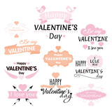 Vector illustration set of Valentine s day inscriptions and concepts on white background for greeting cards.