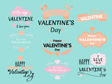 Vector illustration set of Valentine s Day inscriptions and concepts for greeting card with phrases on light blue background.