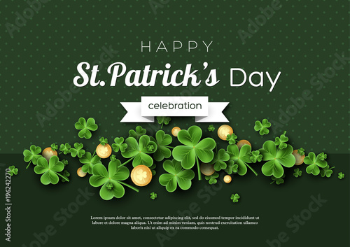 St. Patrick's Day card. Clover leaves with coins on green background for greeting holiday design. Vector illustration. - 196242270