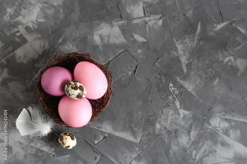 Foto op Plexiglas Stenen Easter pink and purple eggs in a nest on a concrete background. Top view