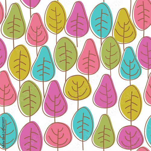 Cotton fabric Cute colorful trees. Seamless vector pattern with stylish trees.