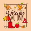 welcome autumn season boot umbrella bird leaves vector illustration