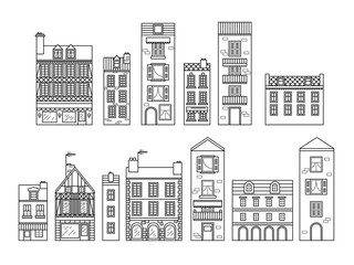European houses. Different sizes and constructions. Old houses of Europe Flat vector in lines