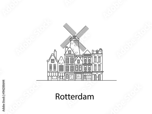 Tuinposter Rotterdam The city of Rotterdam. European houses. Different sizes and constructions. Old houses of Europe Flat vector in lines