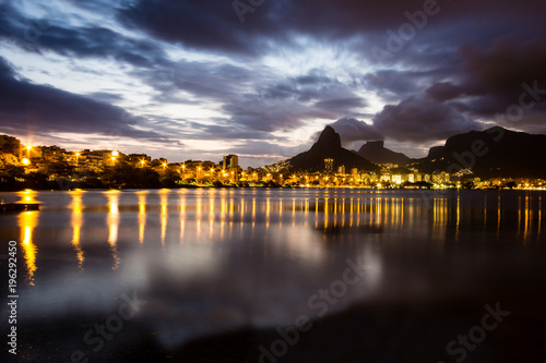 Fotobehang Rio de Janeiro Lakeside view of lake during sunset, almost dark.=
