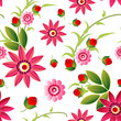 Cute Flowers Background Seamless Pattern Spring Colorful Floral Ornament Vector Illustration - 196295231