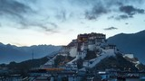 time lapse of the potala palace in sunset at lhasa, tibet ,China - 196295603