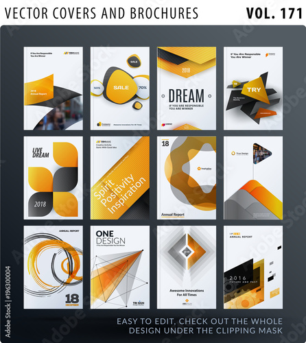 Poster Creative design of brochure set, abstract annual report, horizontal cover