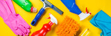 Cleaning concept - cleaning supplies on wood background - 196301210
