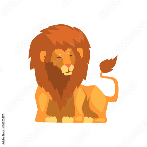 Wall mural Powerful lion lying, wild predatory animal vector Illustration on a white background