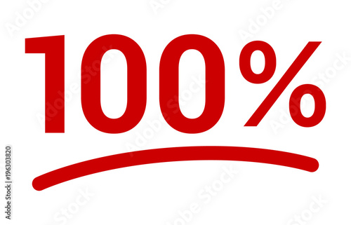 Red 100% or 100 percent number with underline flat vector icon for apps and websites