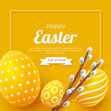 Abstract Easter yellow background. Decorative 3d eggs with frame and willow branches. Vector illustration. - 196307476
