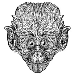 Vector beautiful monkey with big eyes. Version black and white.