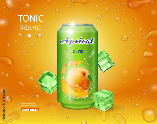 Apricot fruit drink in a can advertising poster design with bubbles - 196308616