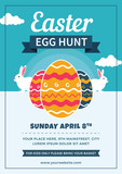 Easter Egg Hunt Flyer with Eggs and Rabbits - 196311804