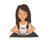 A young girl drinking coffee. Hot drink. Vector portrait illustration, isolated on white background.