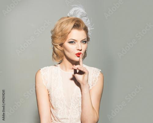 Makeup and cosmetics, skincare, pinup woman. - 196314261