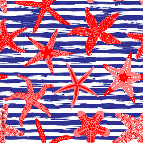 Materiał do szycia Wzór gwiazdy morza. Morskich środowisk z rozgwiazdy i paski w pociągnięcia. Rozgwiazda podwodnych zwierząt bezkręgowych. Ilustracja wektorowa