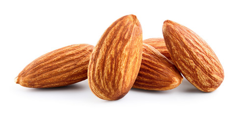 Almonds. Almond nuts isolated on white. Full depth of field. © Tim UR
