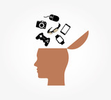 Creative Open Head Digital Devices Objects Symbol Logo Design Illustration - 196317615