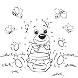 Cute cartoon bear with honey and bees. Dot to dot game