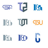 Set Of 9 simple editable icons such as ru or ur, Rh, SU, TM, Rb, Ra, TZ, SF, can be used for mobile, web UI - 196319659