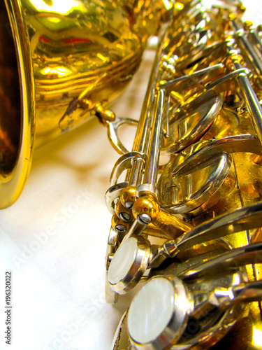 Old golden saxophone close-up Poster