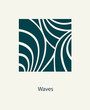 Water Wave Logo abstract design. Cosmetics Surf Sport Logotype concept. Square aqua icon.