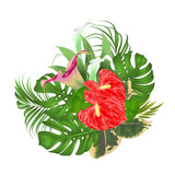 Floral arrangement bouquet with tropical flowers  with beautiful lilies Cala and anthurium, palm,philodendron and ficus vintage vector illustration  editable hand draw