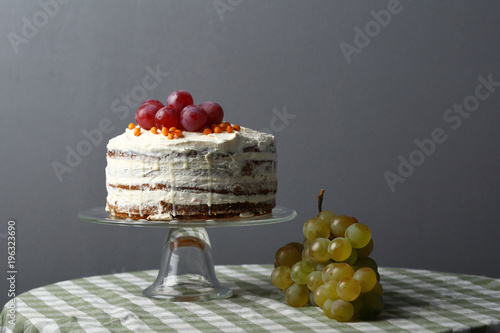 Wall mural Sweet cake with fruits